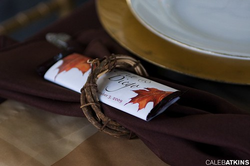 Napkin rings with chocolate bar favors
