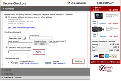 Checkout Process Usability wireframes: single-screen shopping cart - step 3 (billing address & payment options)