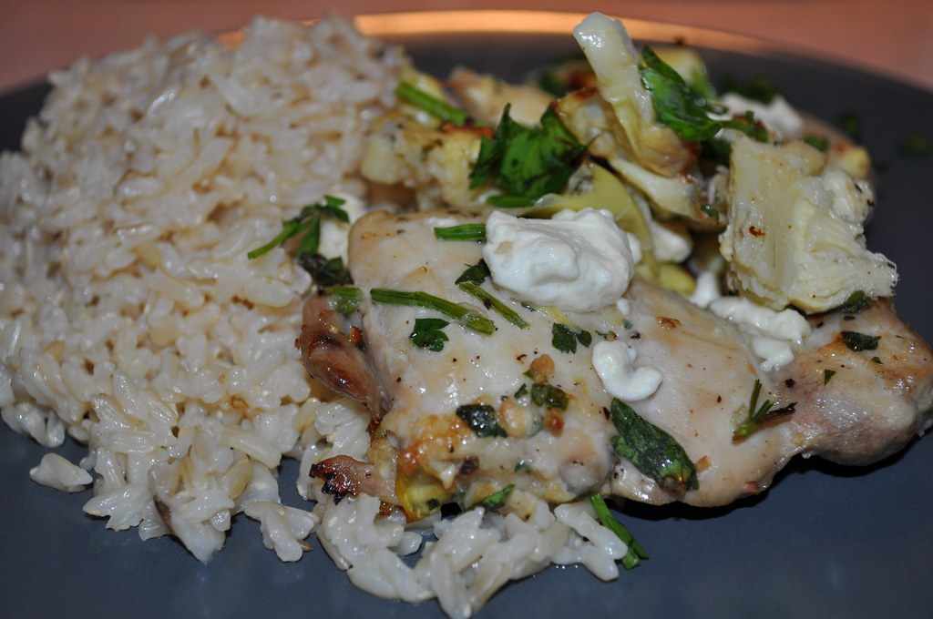chicken thighs with artichokes and feta cheese | Fooding with Emily