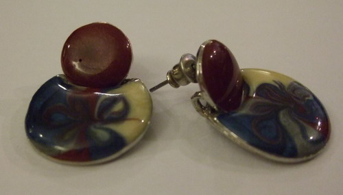 Vintage Earrings Marbled
