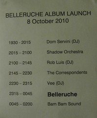 Belleruche album launch running order