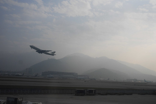 An airlines takes off from the Hong Kong airport.