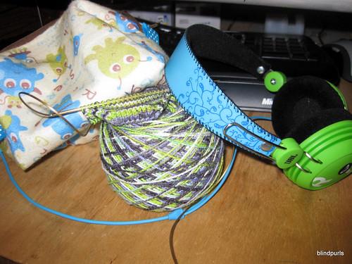 Monsters (cube monster bag), socks (sock wip) and rock & roll (my new roxy headphones)