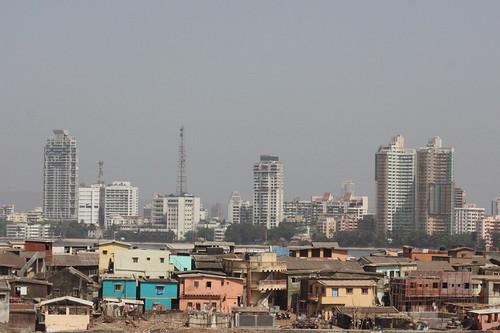 Slums in the shadows of Mumbai
