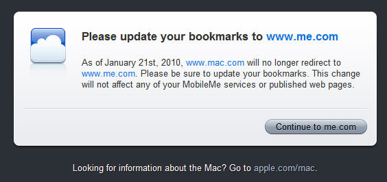 mac.com doesn't redirect to MobileMe anymore