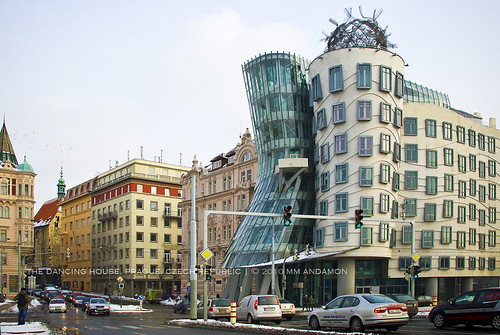 The Dancing House viewed from Jiraskuv Most, Prague