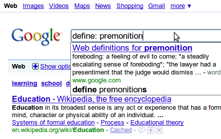 Google Suggest with definitions