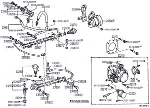 3vz intake manifold, hoses, and upper injection diagrams