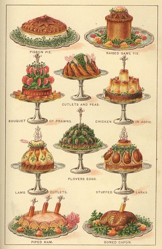 Coloured illustrations of meat and poultry piled onto elaborate silver serving stands, 1901