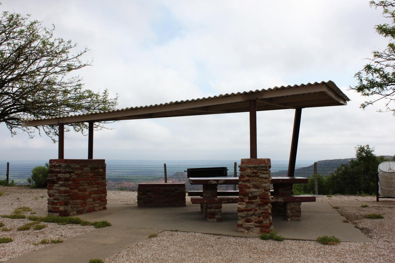 Cool mod picnic shelter on the rim