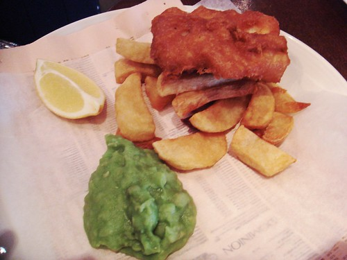 The Narrow - Beer-battered fish, hand-cut chips, mushy peas £13.00