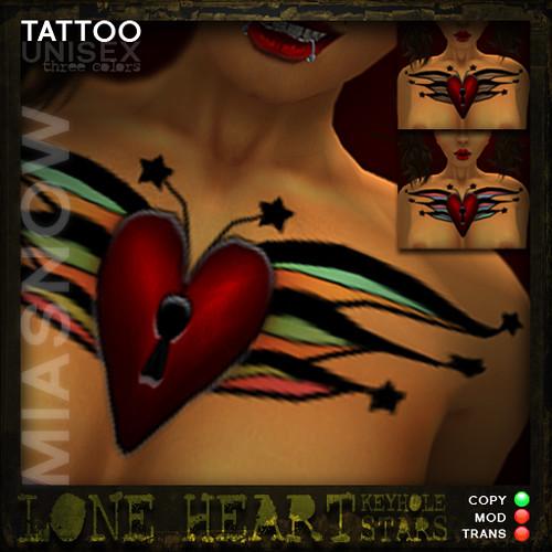 Lone Heart Tattoo Keyhole/Stars