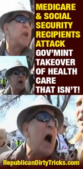 Medicare and Social Security Recipients Protest Government Takeover of Healthcare that Isn't Image