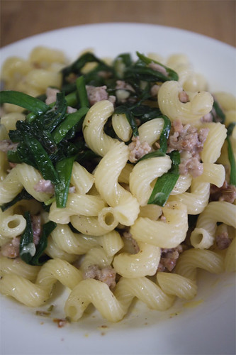 Chinese chives, ground pork/fennel seeds with creme fraiche pasta