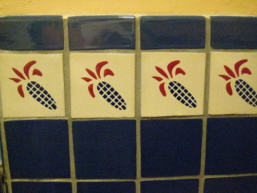 Bathroom tiles at the Blue Corn Cafe