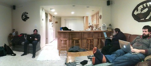 Panorama: the blogger condo with @slashfilm @rejects @brotodeau in their element