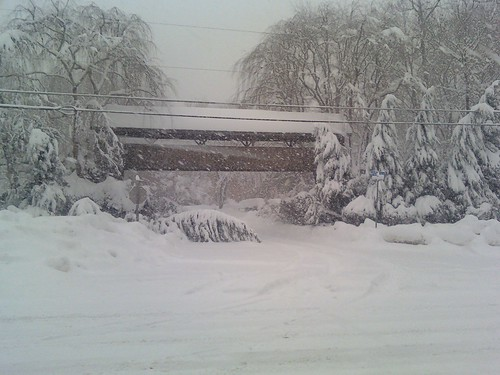 A covered bridge in the Snowpocalypse blizzard of February 2010.