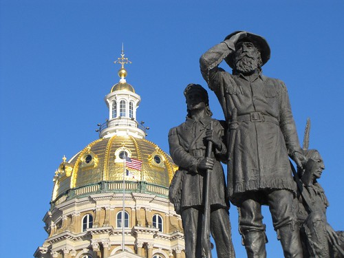 Iowa Capitol with statue