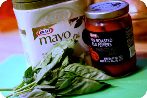 ingredients for basil/red pepper mayo
