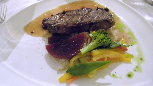 Striploin with barley risotto