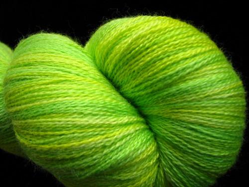 Limey! - Hand Dyed Zephyr Merino Wool Silk Lace Yarn