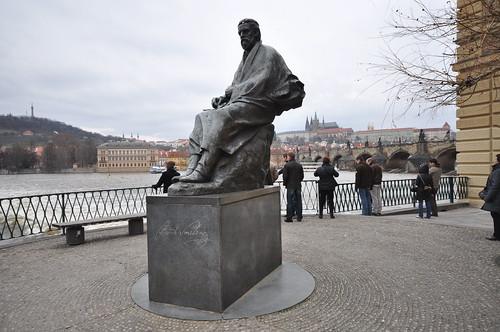 Statue of Bedřich Smetana by the Vltava river