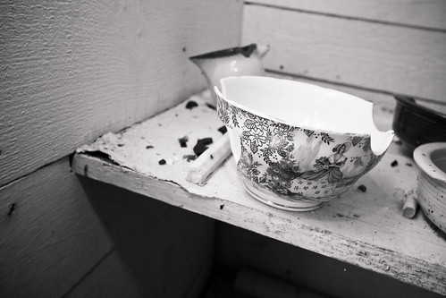 A mug on a shelf in the kitchen.