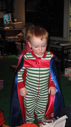 in his cape