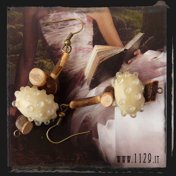 ICLEVET orecchini beige legno - wood beige earrings