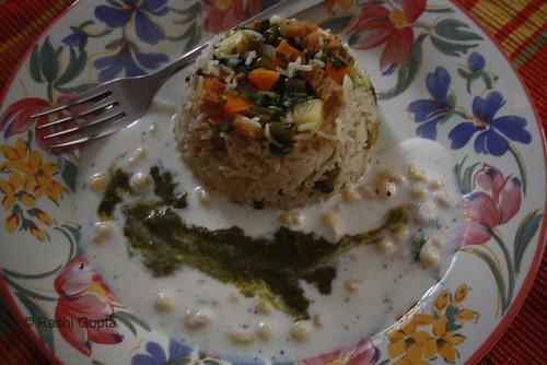 Pulao served with Boondi Raita and Chutney