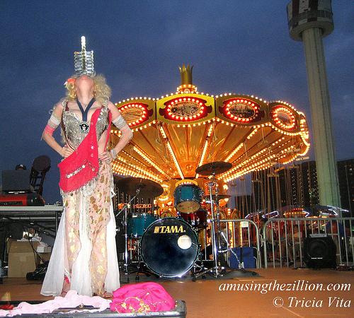 Queen of Swords Natasha Versuchka on stage at new Luna Park, Coney Island. Photo © Tricia Vita/me-myself-i