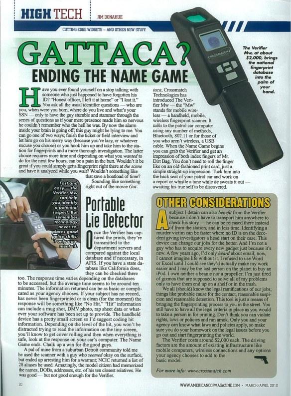 American Cop Magazine March/April 2010 page 20