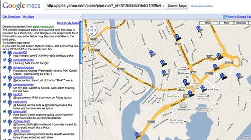 Yahoo pipe in google map
