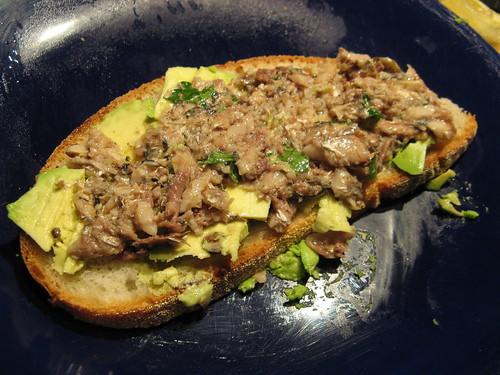 Sardine and avocado sandwich