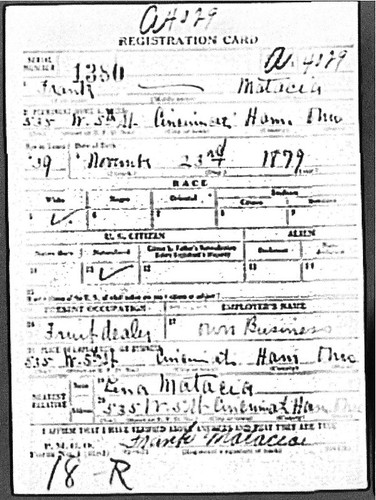 Frank Matacia's WW I Draft Registration
