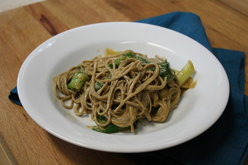 Soba noodles and bok choy