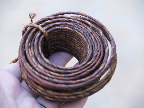 Bark covered twine
