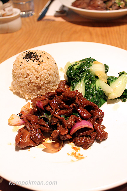 Brown rice with braised pork and vegetables