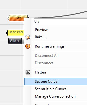 Selecting the source curve