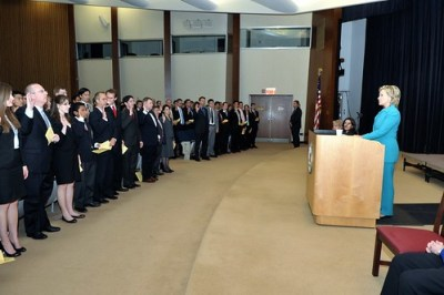 Secretary Clinton swearing in Ted and the 152nd Class of the Foreign Service