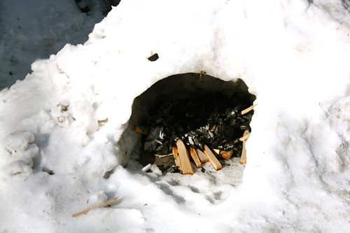 outside igloo fire