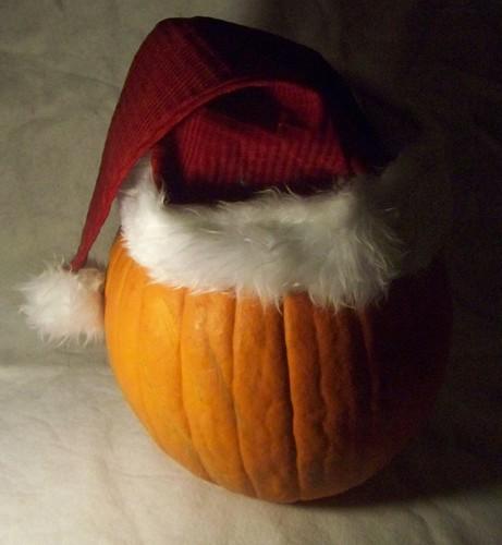 pumpkin with Santa hat