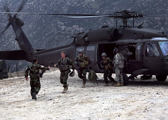 Gen. McChrystal disembarks a Black Hawk with D...