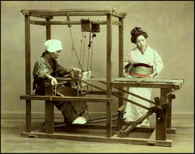 TWO WOMEN AT A LOOM in OLD JAPAN