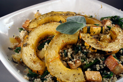 Warm Millet Salad with Delicata Squash, Crispy Tofu and Spinach