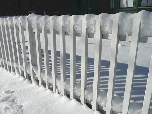 Snow, slats, and shadows