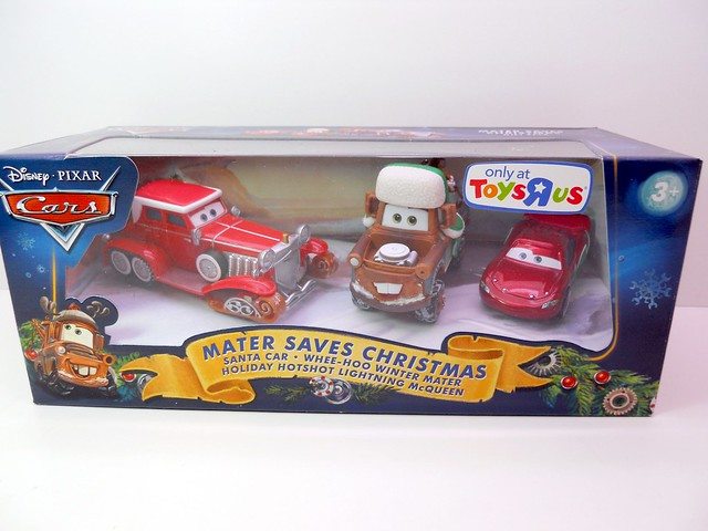 DISNEY CARS TOYS R US MATERS SAVES CHRISTMASD SANTA CAR, WOOHEE MATER HOT SHOT LIGHTNING MCQUEEN (1)