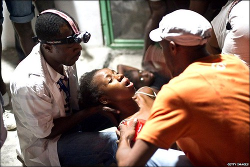 Injured victim of the Haiti earthquake which registered at 7.0 magnitude in the Caribbean. Thousands may be dead from the affects of the disaster.