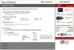 Checkout Process Usability wireframes: single-screen shopping cart - step 4 (review information & place order)