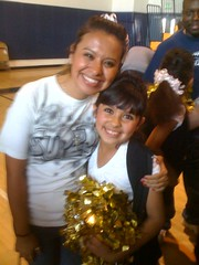 Jaclyn with her coach after her team won 1st place at school dance competition